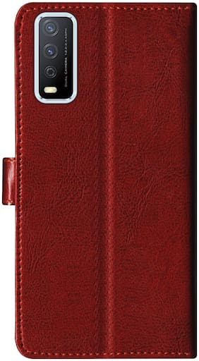 SBMS Leather Flip Cover For Vivo Y12s (Brown)