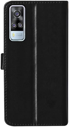 SBMS Leather Flip Cover For Vivo Y51a (Black)