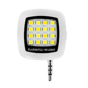 Captcha Universal Portable Mini 16 Led, 3.5mm Jack, Selfie Enhancing Dimmable Flash Fill-In Light