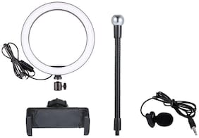 Selfie Ring Light  Dimmable Desk Makeup Ring Light for Video, Photography, Shooting 3 Light Modes With  Noise Cancellation Clip Collar Mic Condenser