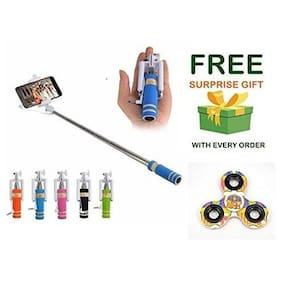 Premsons selfie stick Mini Monopod with Aux Cable for All Smartphones, No Bluetooth and Charging Required -Colours May Vary