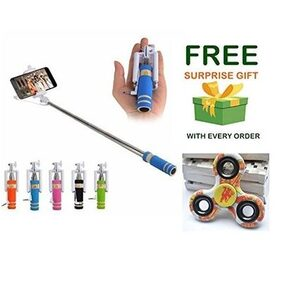 selfie stick Mini Monopod with Aux Cable for All Smartphones, No Bluetooth and Charging Required and ( Get a free surprised assured gift upto worth Rs 199/- with every purchase )- Assorted Colours