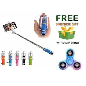 Premsons Selfie Stick Mini With Aux Cable For iPhone, Android, Windows Phone - Random Colours