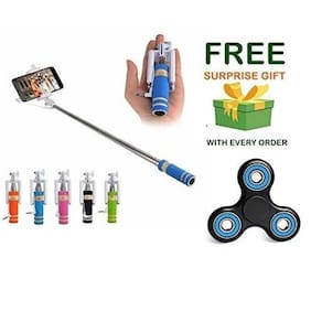 Premsons Selfie Stick Mini With Aux Cable For iPhone, Android, Windows Phone - Assorted Colours