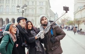 Selfie Stick with Wire/Aux Cable for taking Photos & Videos on all Mobile Phones, Buy Original Premium & Best Quality, Light Weight, Best Price Gift, Long Length Extendable