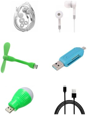 selfieseven In-Ear Earphone Free usb fan, usb bulb, dual otg card reader, android data cable ( (Assorted)