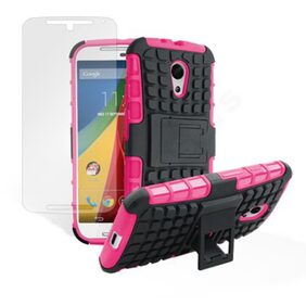 Sell To For Moto G2 2nd Gen 2014 Kick Stand Hard Case Cove (Pink & Black) With Free Screen Guard