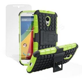 Sell To For Moto G2 2nd Gen 2014 Kick Stand Hard Case Cove (Green & Black) With Free Screen Guard