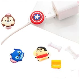 Sezhumai Cartoon Light Charger USB Cable Protector for iPhone iPod Iwatch.Random(Set of 4 pcs)
