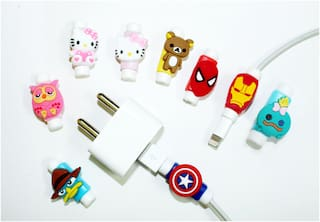 Sezhumai Cartoon Silicone Charger USB Cable Protector for iPhone.Random(Set of 4 pcs)