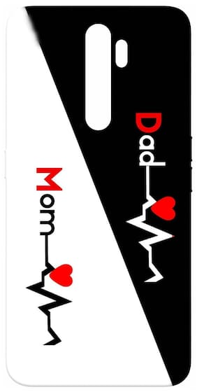 SharpEseller Mom Dad Heart Beat Design Printed Soft Back Cover For Oppo A5 2020