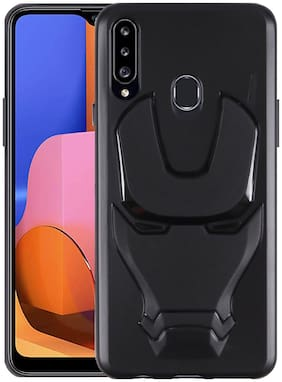 Samsung Galaxy A20s Rubber & Plastic Back Cover By SHINING ZON ( Black )