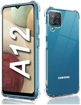 Shining Zon Silicon Shockproof Camera Protective Back Cover Case for Samsung Galaxy A12 - Transparent