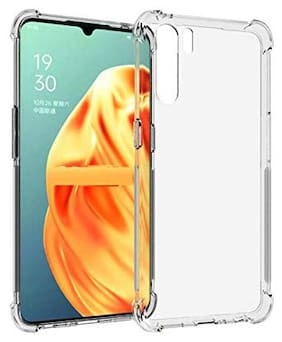 SHINING ZON Rubber & Silicone Back Cover For Oppo F15 ( Transparent )