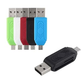 Shopline All Mobiles Ultra Dual Compatible Multi-Functional USB Card Reader (Colour May Vary, otg-ac-125)