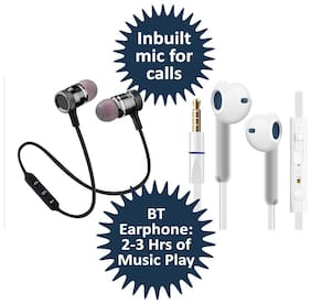 Shopline wired Earphone and Magnet Bluetooth Headset Combo