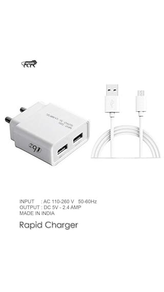 Sony Supported Wall Charger, Travel Charger, Mobile Charger, Dual Port USB Adapter With Micro USB Cable By TBZ Smart And Fast Charging, 2.4 AMP