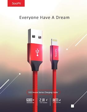 Soopii 1.2M Lightning 8 Pin Charging & Data Sync Cable for iphone 8/8 Plus/7/7 Plus/6/6s/6 Plus (Red)