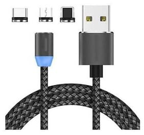 Speeqo Magnetic Charging 3 in 1 (Lightning & Micro USB & Type-C) Cable ( 1 m , Black )