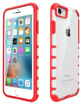 SrizTech High Quality PC TPU Antishock Cell Phone Cover Case For iPhone 7 & 8, Slim, Light, Perfect Fit, Reinforced Frame & Crystal Durable Shock-Absorption Flexible Soft Rubber (Red) RD3