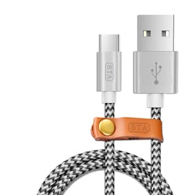 "STA Nylon Braided 2.00 Mtr USB ""C"" Type Fast Charge & Sync Cable New generation USB C Type Cable  (Silver)"