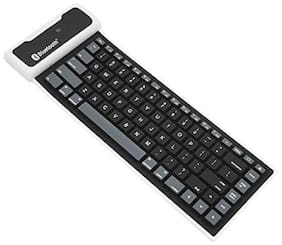 Statusbright Wireless USB Interface Silicon Keyboard Russian Layout Waterproof for PC Laptop Keyboard fold Wireless, Bluetooth Multi-device Keyboard  Bluetooth Desktop Keyboard  (Black)