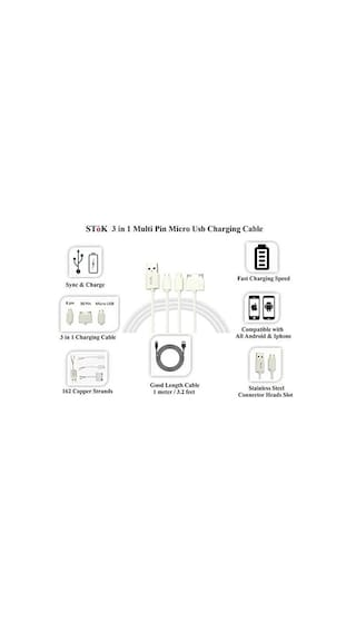 SToK 3 in 1 Micro Usb Charging Cable for Android Phone, Iphone 4, 4s, 5, 5c, 5s, 6 & 6 Plus
