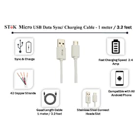 SToK 0.97 m (3.2 ft) Micro USB Data and Charging Cable for Android / Windows, Power Bank and Samsung, Nokia, LG, Micromax, Sony and HTC Phones ...