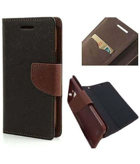 Stylish Luxury Mercury Magnetic Lock Diary Wallet Style Flip Cover Case for Mi Redmi Note 4-Brown