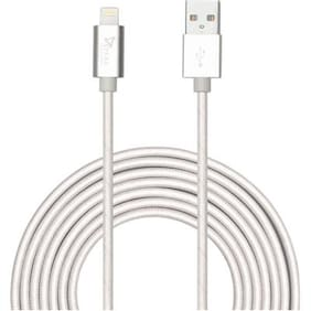 Syska High Speed Nylon Braided Apple Certified Lightning Sync & Charge Cable  (Silver)