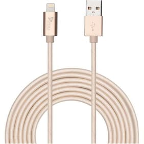 Syska High Speed Nylon Braided Apple Certified Lightning Sync & Charge Cable  (Gold)