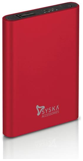 Syska 5000 mAh Portable Power Bank - Red