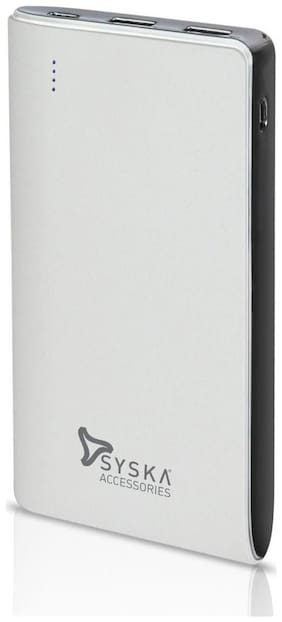 Syska P1019 White 10000 mAh Portable Power Bank - White
