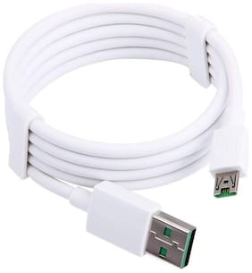 T3S 5V/4A Vooc SuperFast Data Sync Charging Cable for Oppo F11 Pro & All Oppo Smartphone -White