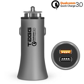 TAGG Roadster Qualcomm Quick Charge 3.0 Dual USB Smart Car Charger || Metal Finish || 3.0A + 2.4A Output