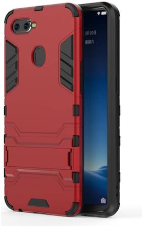 Tarkan Heavy Duty Shockproof Armor Kickstand Back Case Cover For Oppo Realme 2 Pro (Red) Real Me 2 Pro
