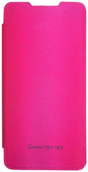 TBZ Flip Cover Case for Micromax Canvas Nitro A311 -Pink