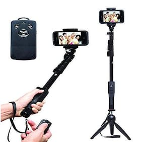 Tech Gear  2 In 1 Adjustable Selfie Stick Monopod and 228 Mini Tripod for Smartphones & DSLR Cameras with Bluetooth Remote Shutter