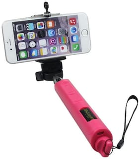 Tech Gear Selfie Stick With Inbuilt Bluetooth For Mobile (Red)