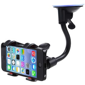 Tech-X Car Phone Mount Windshield, Long Arm Clamp iVoler Universal Dashboard with Double Clip Strong Suction Cup Cell Phone Holder For All Phone