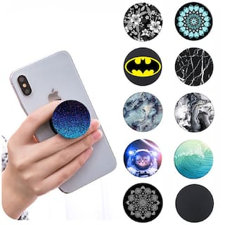 Tech-X PopSockets Stand for Smartphones & Tablets, Pack of 2 ( Assorted Colors and Designs )