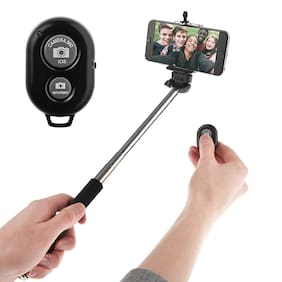 Tech-X Selfie Stick with Bluetooth Remote, Extendable up to 113.5 cm,  (Color May Vary)