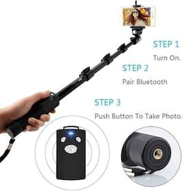 Tech-X YT-1288-A Bluetooth Selfie Stick for All Smartphones, Gopro Action Camera and DSLR Digital Camera - Black (Selfie Stick)