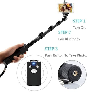 Tech-X YT-1288-A Bluetooth Selfie Stick for All Smartphones, Gopro Action Camera and DSLR Digital Camera - Black (Selfie Stick)