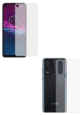 TECHCARE Hammer Proof Unbreakable Nano Film Impossible Screen Protector Screen Guard.{Not a Tempered Glass} Designed Front and Back  for Moto One Action