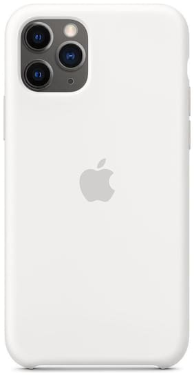 TECHCARE Soft Liquid Silicon Back Cover Case with Logo Ultra Thin Matte 360 Degree Full Protective For Apple Iphone  XI / iPhone 11 ( White )