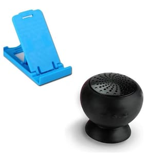Techvik Combo Of Foldable Mini Mobile Holder Stand With Wireless Shower Bluetooth Speaker