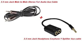 Techvik Combo Set of Flat Stereo Male to Male 3.5mm Audio Aux Cable + Audio Aux Y Splitter Adapter 3.5 mm Male to Two Female Jack Accessory Combo