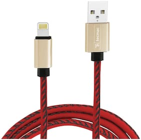 tecmac Faux Leather Braided 8-Pin USB Data Sync Fast Charging Cable | 1Meter | Red
