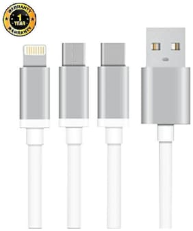 TESSCO GU-331, 3-in-1 Fast Charging Multi USB Cable For IOS, Micro USB & Type C Support Devices With One Year Brand Guarntee